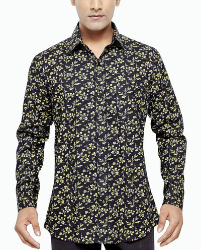 Gordon Bishop Black Men's Regular Fit Classic Long Sleeve Casual Shirt