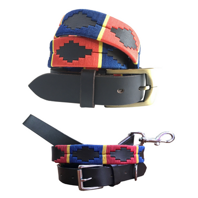 CARLOS DIAZ Polo Belt Dog Collar and Lead Set Bundle