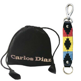 Wholesale CARLOS DIAZ Argentinian Brown Leather Embroidered Polo Keychain and Black Velvet Gift Bag