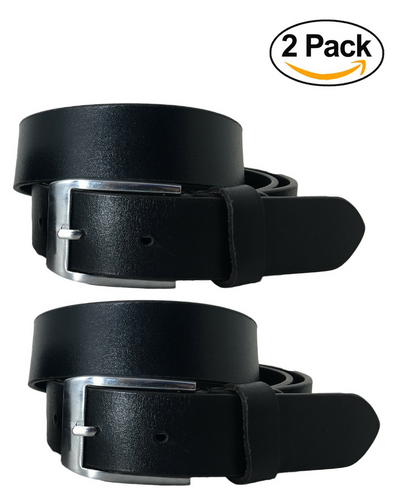BRADLEY CROMPTON Womens Multipack Black & Black (Set of 2 Belts) Twin Pack Full Leather Grain Casual Formal Belts