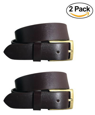 BRADLEY CROMPTON Mens Multipack Brown & Brown (Set of 2 Belts) Twin Pack Full Leather Grain Casual Formal Belts