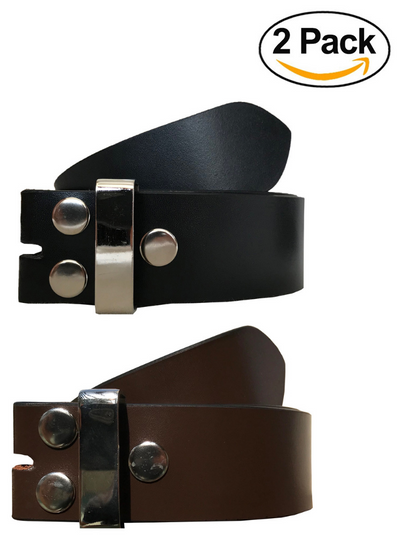 VALERIO Mens Womens Unisex Multipack Black & Brown (Set of 2 Belts) Twin Pack Full Genuine Leather Casual Formal Press Stud Chrome Finish Snap On Belts
