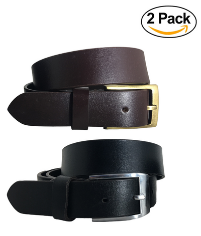 BRADLEY CROMPTON Mens Multipack Black & Brown (Set of 2 Belts) Twin Pack Full Leather Grain Casual Formal Belts