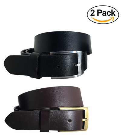 BRADLEY CROMPTON Boys Girls Multipack Black & Brown (Set of 2 Belts) Twin Pack Full Leather Grain Casual Formal Belts