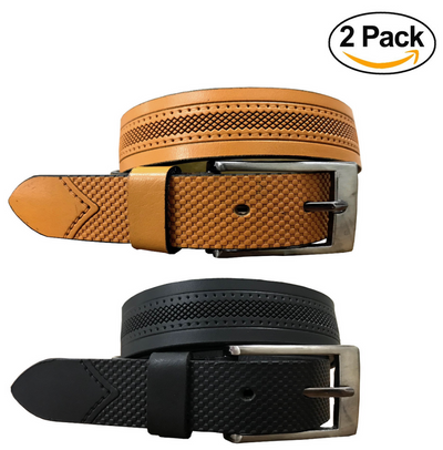 BRADLEY CROMPTON Mens Womens Multipack Black & Tan Brown (Set of 2 Belts) Twin Pack Full Leather Grain Casual Formal Belts