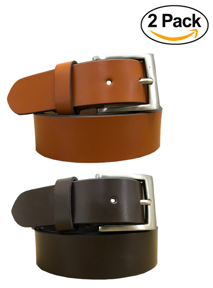BRADLEY CROMPTON Mens Multipack Tan Brown & Brown (Set of 2 Belts) Twin Pack Full Leather Grain Casual Formal Belts