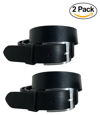 BRADLEY CROMPTON Mens Multipack Black & Black (Set of 2 Belts) Twin Pack Full Leather Grain Casual Formal Belts