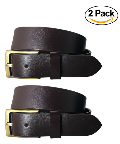BRADLEY CROMPTON Womens Multipack Brown & Brown (Set of 2 Belts) Twin Pack Full Leather Grain Casual Formal Belts