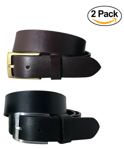 Bradley Crompton Womens Multipack Black & Brown Dual Pack Twin Pack Leather Casual Formal Belts