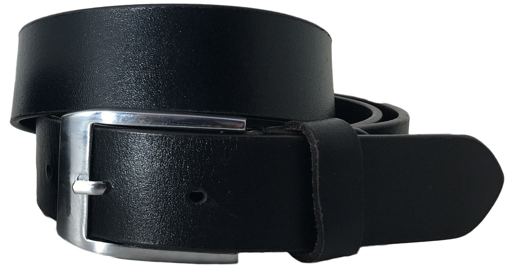 SYNC WITH STYLE Mens Black Full Leather Grain Casual Formal Belt
