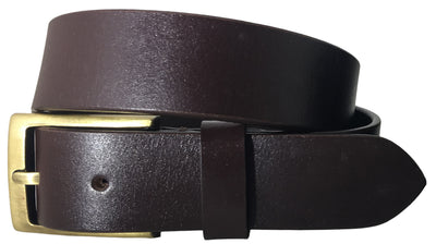 SYNC WITH STYLE Mens Brown Full Leather Grain Casual Formal Belt