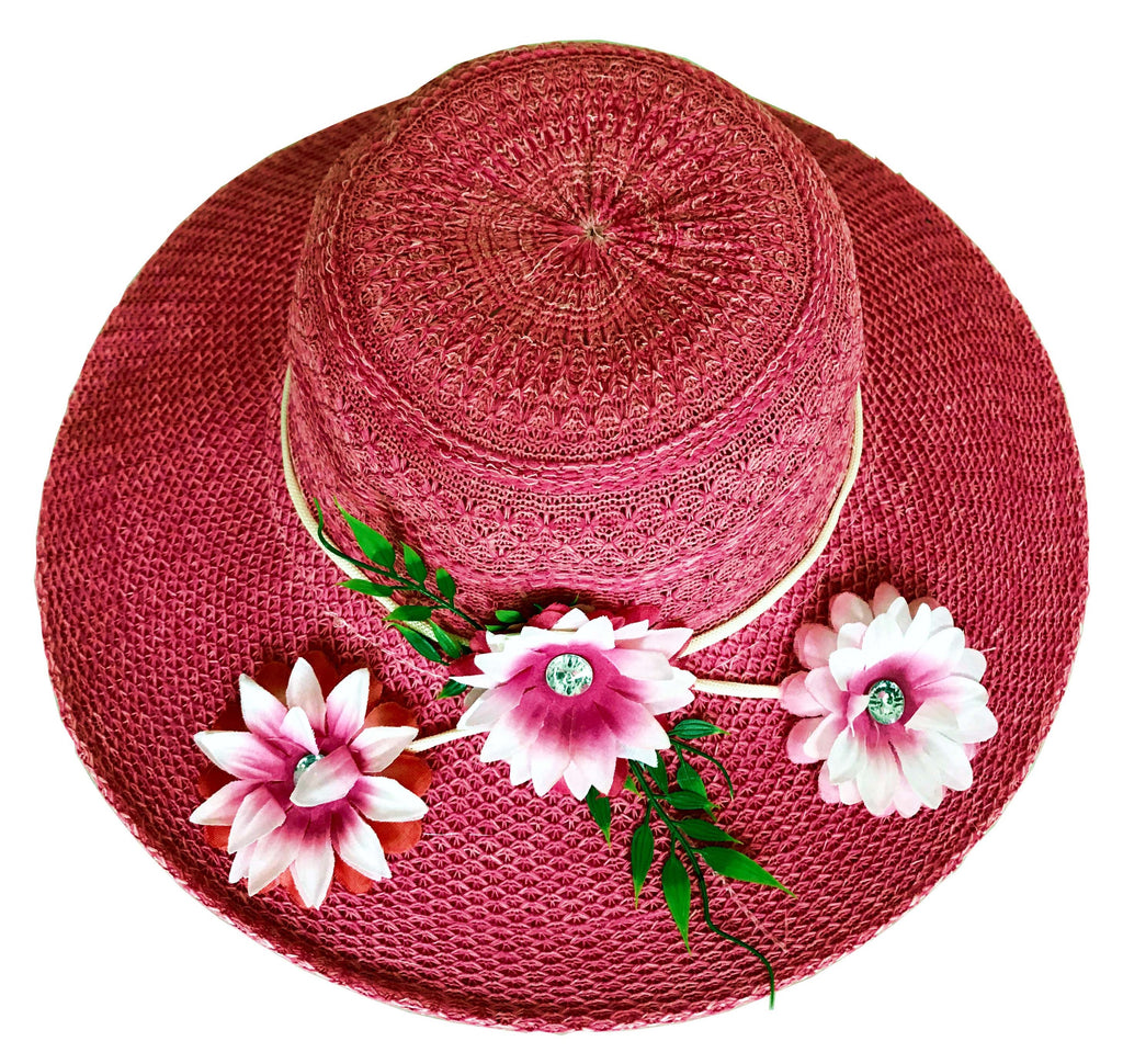 SYNC WITH STYLE Womens Ladies Floppy Foldable Summer Wedding Church Race Derby Sun Beach Straw Cap UPF 50 Foldable Wide Brim Formal Casual Adjustable Floral Light Pink Hat