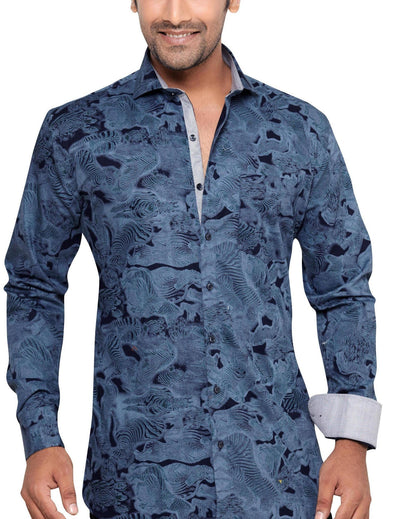 Archie Jackson Blue Men's Slim Fit Classic Long Sleeve Casual Shirt - Casual Shirts - Archie Jackson - Archie Jackson Blue Men's Slim Fit Classic Long Sleeve Casual Shirt - Sync With Style