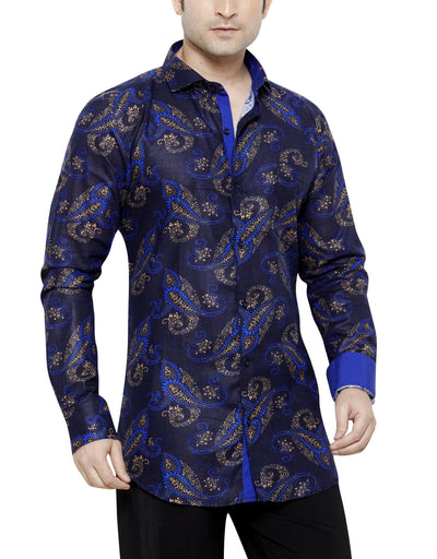 Archie Jackson Blue Men's Slim Fit Classic Long Sleeve Casual Shirt - Sync With Style - Casual Shirts - Archie Jackson  - 1
