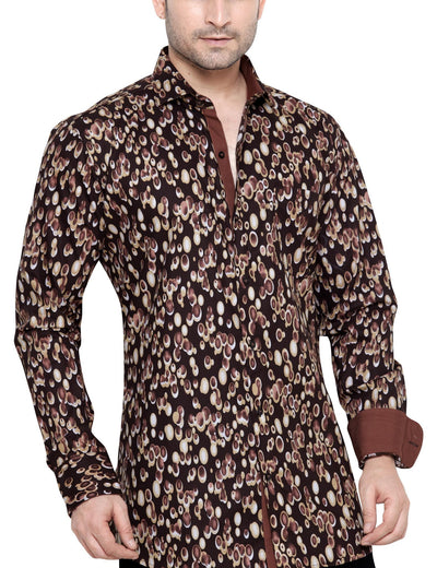 Archie Jackson Brown Men's Slim Fit Classic Long Sleeve Casual Shirt - Sync With Style - Casual Shirts - Archie Jackson  - 1