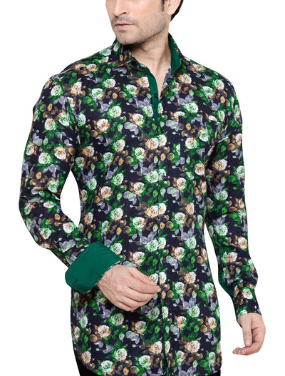 Archie Jackson Green Men's Slim Fit Classic Long Sleeve Casual Shirt - Sync With Style - Casual Shirts - Archie Jackson  - 1