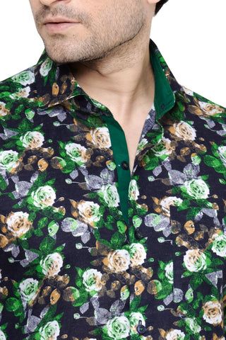 Archie Jackson Green Men's Slim Fit Classic Long Sleeve Casual Shirt - Casual Shirts - Archie Jackson - Archie Jackson Green Men's Slim Fit Classic Long Sleeve Casual Shirt - Sync With Style