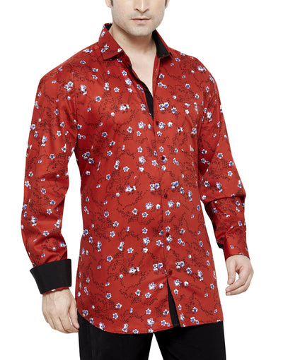 Archie Jackson Red Men's Regular Fit Classic Long Sleeve Casual Shirt - Sync With Style - Casual Shirts - Archie Jackson  - 1