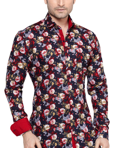 Archie Jackson Red Men's Slim Fit Classic Long Sleeve Casual Shirt - Casual Shirts - Archie Jackson - Archie Jackson Red Men's Slim Fit Classic Long Sleeve Casual Shirt - Sync With Style