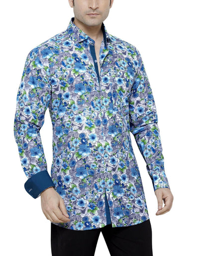 Carlos Diaz Blue Men's Regular Fit Classic Long Sleeve Casual Shirt - Casual Shirts - Carlos Diaz - Carlos Diaz Blue Men's Regular Fit Classic Long Sleeve Casual Shirt - Sync With Style