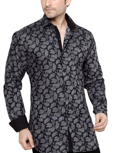George Westwood Black Men's Slim Fit Classic Long Sleeve Casual Shirt - Casual Shirts - George Westwood - George Westwood Black Men's Slim Fit Classic Long Sleeve Casual Shirt - Sync With Style