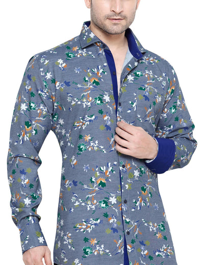 George Westwood Blue Men's Slim Fit Classic Long Sleeve Casual Shirt - Casual Shirts - George Westwood - George Westwood Blue Men's Slim Fit Classic Long Sleeve Casual Shirt - Sync With Style