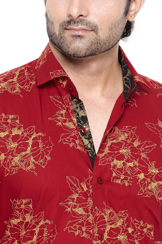 George Westwood Red Men's Regular Fit Classic Long Sleeve Casual Shirt - Sync With Style - Casual Shirts - George Westwood  - 2