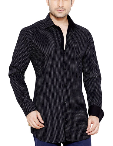 Mostyn Grove Black Mens Casual Regular Fit Print Shirt - Sync With Style - Casual Shirts - Franco Romano  - 1