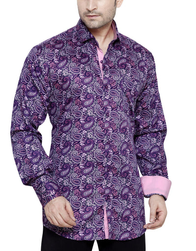 Oliver Green Purple Men's Regular Fit Classic Long Sleeve Casual Shirt - Sync With Style - Casual Shirts - Oliver Green  - 1