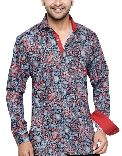 Oliver Green Red Men's Regular Fit Classic Long Sleeve Casual Shirt - Sync With Style - Casual Shirts - Oliver Green  - 1
