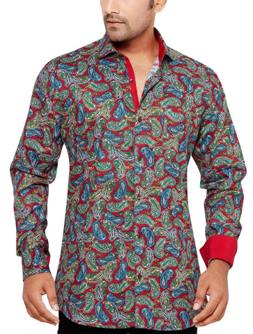 Oliver Green Red Men's Slim Fit Classic Long Sleeve Casual Shirt - Sync With Style - Casual Shirts - Oliver Green  - 1