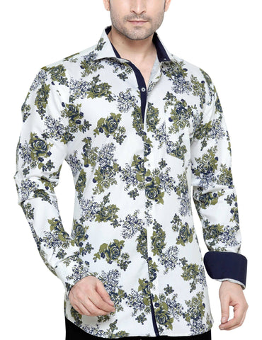 Oliver Green White Men's Slim Fit Classic Long Sleeve Casual Shirt - Sync With Style - Casual Shirts - Oliver Green  - 1