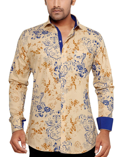 Oliver Green Yellow Men's Slim Fit Classic Long Sleeve Casual Shirt - Sync With Style - Casual Shirts - Oliver Green  - 1