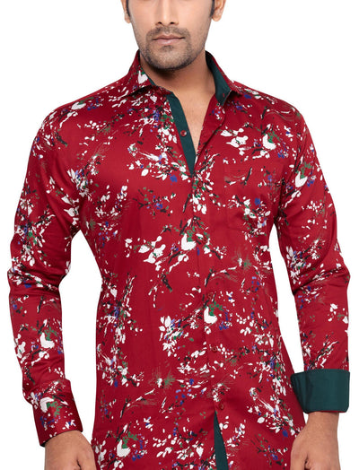 Peter Sterling Red Men's Slim Fit Classic Long Sleeve Casual Shirt - Sync With Style - Casual Shirts - Peter Sterling  - 1