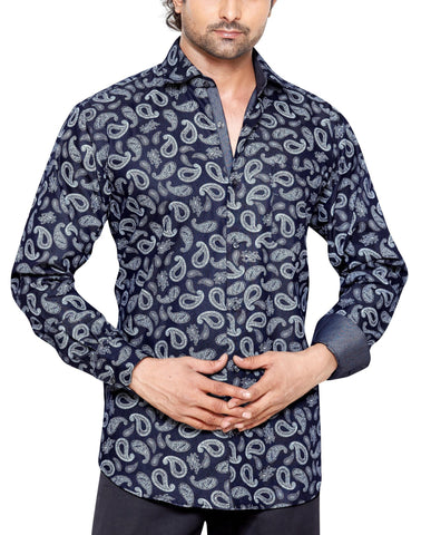 Robsart Place Navy Blue Mens Regular Fit Casual Shirt - Sync With Style - Casual Shirts - Steffen Dehm  - 1