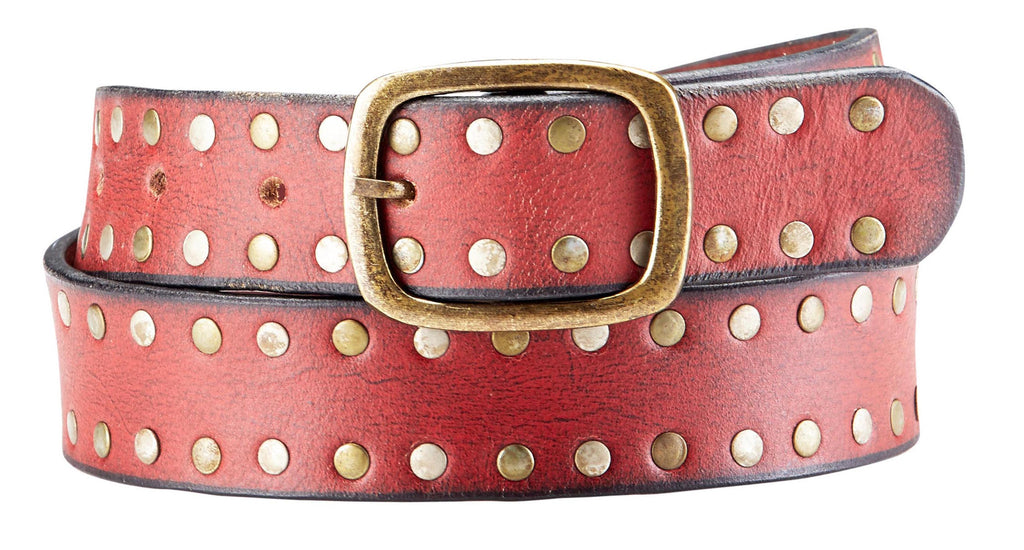 Bradley Crompton Mens Womens Unisex Red Leather Casual Belt - Sync With Style - Casual Belts - BRADLEY CROMPTON  - 1
