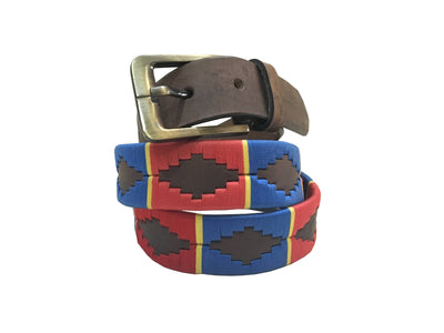 Carlos Diaz Mens Womens Unisex Argentinian Brown Leather Embroidered Polo Belt - Sync With Style - Polo Belts - Carlos Diaz