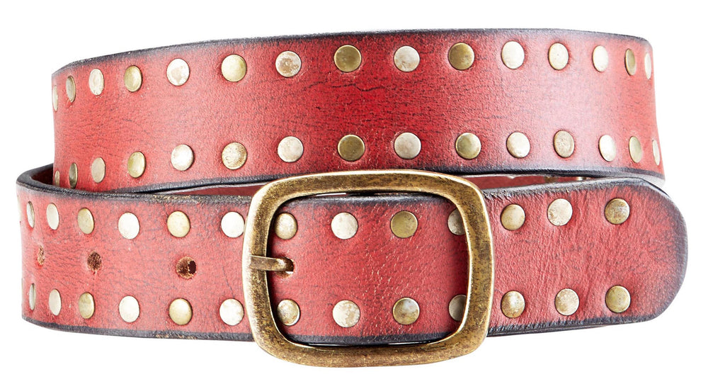 Bradley Crompton Mens Womens Unisex Red Leather Casual Belt - Sync With Style - Casual Belts - BRADLEY CROMPTON  - 5