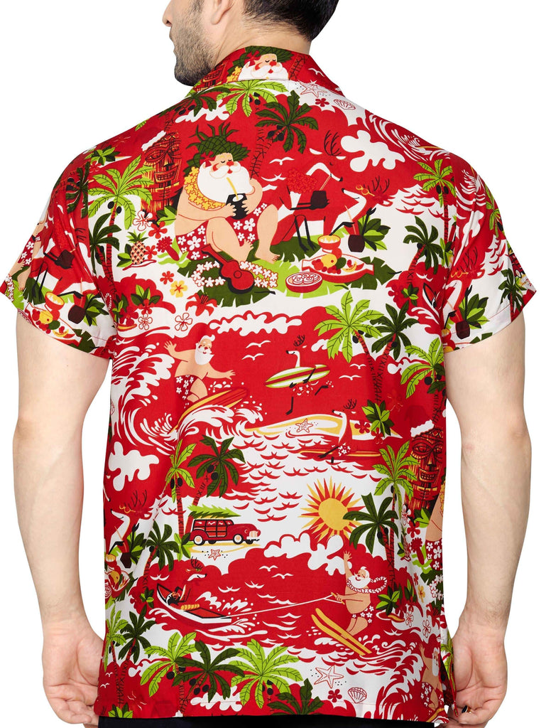 CLUB CUBANA Men's Regular Fit Classic Short Sleeve Casual Christmas Xmas Shirt