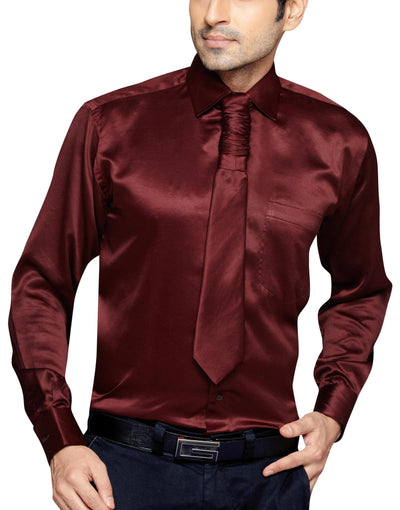 Oliver Green Men's Regular Fit Classic Long Sleeve Casual Satin Shirt With FREE Satin Tie - Sync With Style -  - Oliver Green  - 1