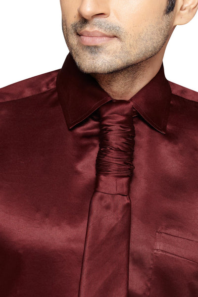 Oliver Green Men's Regular Fit Classic Long Sleeve Casual Satin Shirt With FREE Satin Tie - Sync With Style -  - Oliver Green  - 2