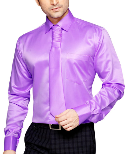 Carlos Diaz Men's Slim Fit Classic Long Sleeve Casual Satin Shirt With FREE Satin Tie - Party Shirts - Carlos Diaz - Carlos Diaz Men's Slim Fit Classic Long Sleeve Casual Satin Shirt With FREE Satin Tie - Sync With Style