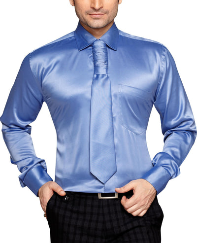 George Westwood Men's Slim Fit Classic Long Sleeve Casual Satin Shirt With FREE Satin Tie - Party Shirts - George Westwood - George Westwood Men's Slim Fit Classic Long Sleeve Casual Satin Shirt With FREE Satin Tie - Sync With Style