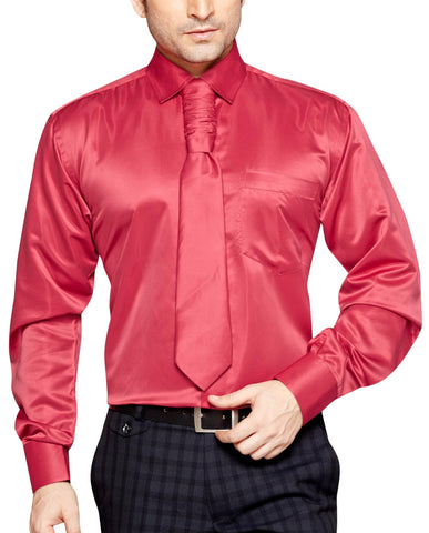 Oliver Green Men's Regular Fit Classic Long Sleeve Casual Satin Shirt With FREE Satin Tie - Sync With Style - Party Shirts - Oliver Green  - 1