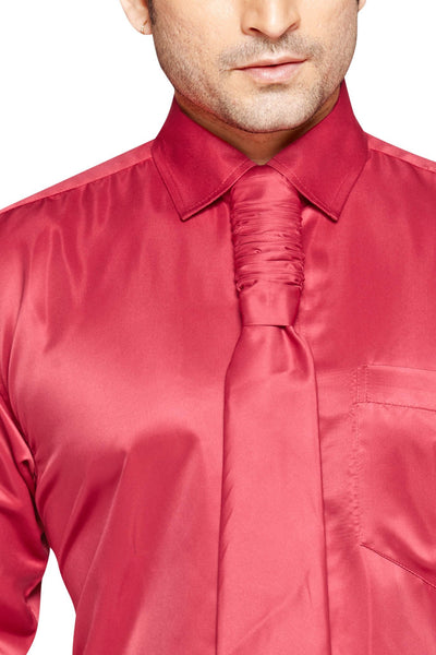 Oliver Green Men's Regular Fit Classic Long Sleeve Casual Satin Shirt With FREE Satin Tie - Sync With Style - Party Shirts - Oliver Green  - 2