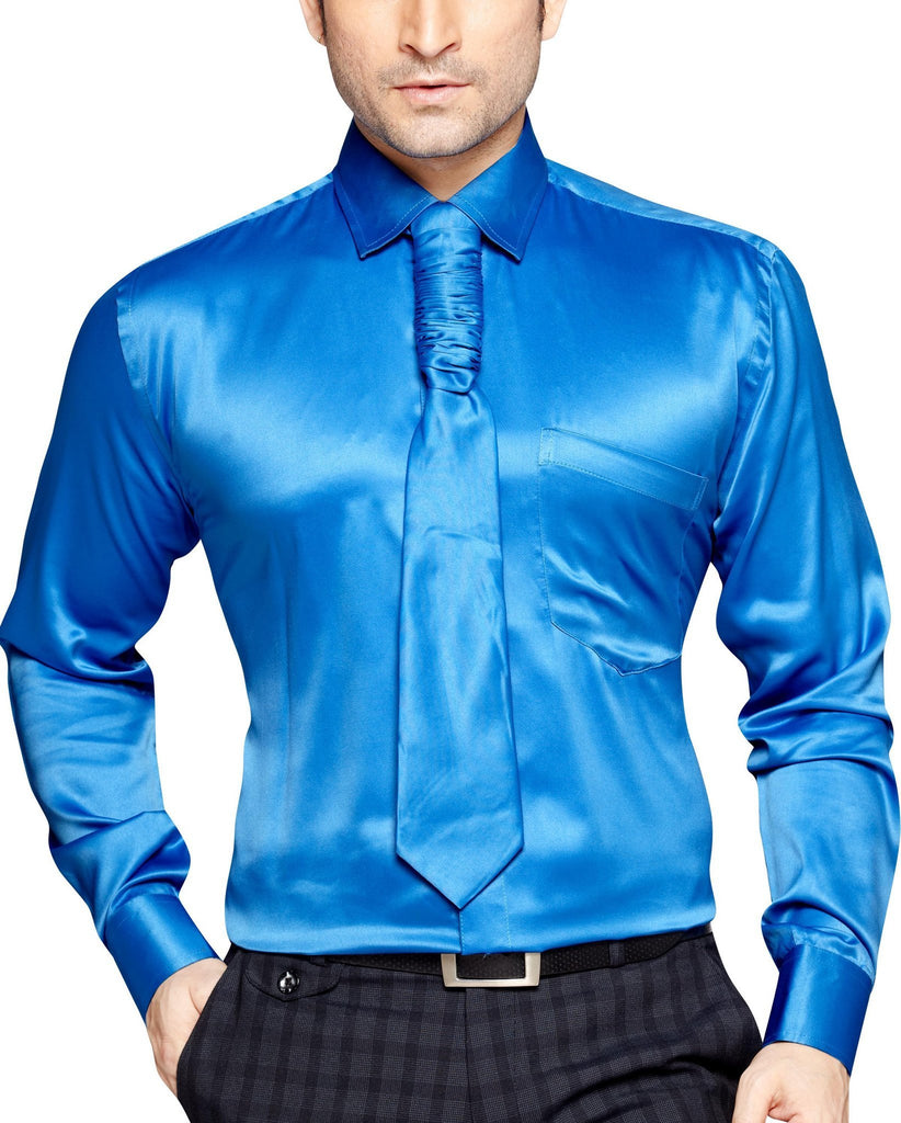 Peter Sterling Men's Slim Fit Classic Long Sleeve Casual Satin Shirt With FREE Satin Tie - Sync With Style - Party Shirts - Peter Sterling  - 1