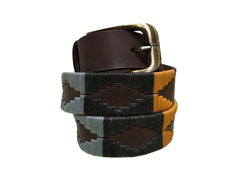 Carlos Diaz Boys Girls Kids Childrens Unisex Argentinian Brown Leather Embroidered Polo Belt - Polo Belts - Carlos Diaz - Carlos Diaz Boys Girls Kids Childrens Unisex Argentinian Brown Leather Embroidered Polo Belt - Sync With Style
