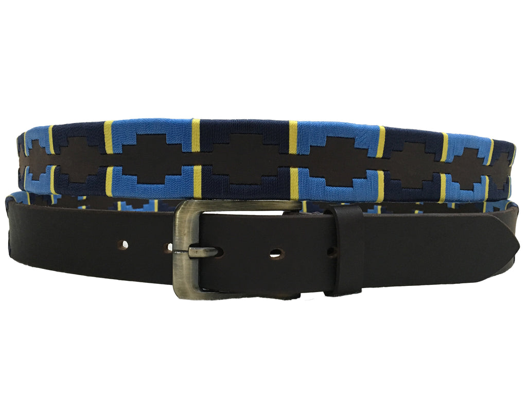 Carlos Diaz Mens Womens Unisex Argentinian Black Leather Embroidered Polo Belt - Sync With Style - Polo Belts - Carlos Diaz  - 2
