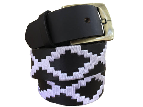 Carlos Diaz Mens Womens Unisex Argentinian Black Leather Embroidered Polo Belt
