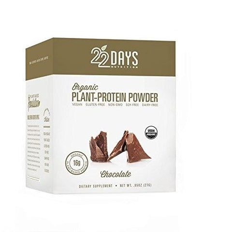 22 Days Organic Plant Protein Powder Chocolate (1x12-.88oz)